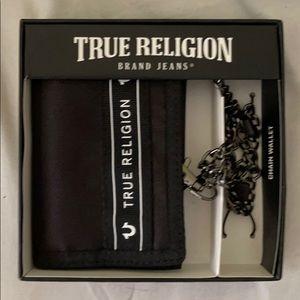 True Religion Black & Silver Chained Money Wallet